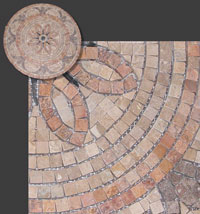 travertine medallion, mesh-mounted travertine tiles